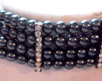 4 Strand Black Faux Pearl Choker Highlighted with Rhinestones