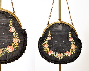 1920s silk purse / French floral embroidered bag / as is