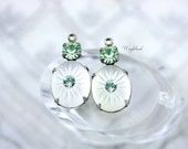 Vintage Camphor Glass Stones Swarovski Crystal 19x10mm Silver Antique Brass Settings Frosted White & Chrysolite - 2