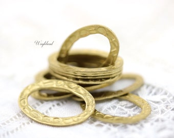 20x14mm Oval Textured Brass Ring Link Connector Stamping - 20 .