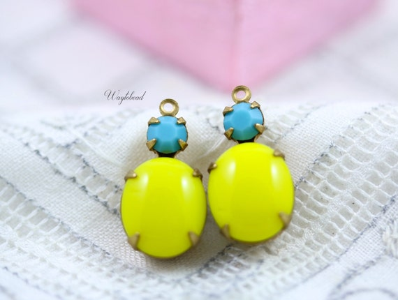 Vintage Oval Round Glass Stones 1 Ring Brass Settings 19x10mm Earring Drops Lemon Yellow & Turquoise - 2 .
