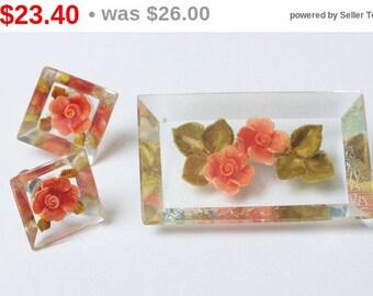 CIJ Sale Orange Flower Lucite Brooch and Earrings Vintage
