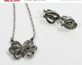 CIJ Sale Avon Faux Marcasite Bow Necklace and Earrings Set Vintage
