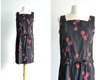 60s Vintage Bow Dress / Flapper Revival / Black Dress / Floral Print / Mini Dress