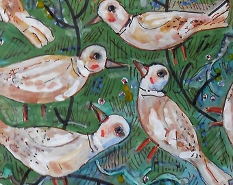 Original Illustration -painting Talking birds  on Canson tint paper  OOAK by miliaart studio