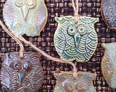 4 Ceramic Owl Ornaments, set of 4 assorted colors, holiday ornament, Christmas tree ornament