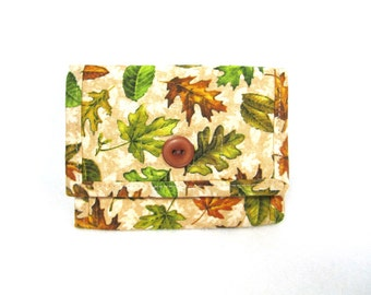 Woman's Fabric Billfold / Fall Leaves Wallet / 11 Pockets / Washable
