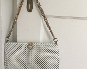 Whiting and Davis white chain maille purse