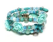 SEA FLOWER coil Beaded Bracelet by Beading Divas Fundraiser