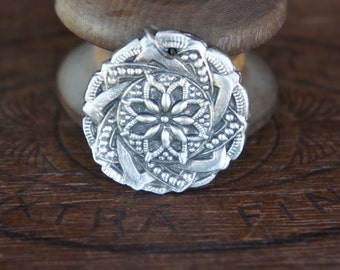 Handmade Fine Silver Ornate 19th Century Button Design Pendant