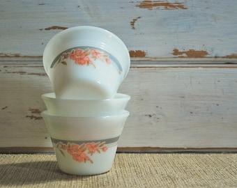 Vintage Indopal Indonesia, Milk Glass Custard Cups, Set of Three Custard Cups, Vintage Milk Glass,