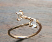 Herkimer Diamond Gold Ring, Adjustable Ring, Hearling Crystal Jewelry, Double Stone Ring, Open Ring