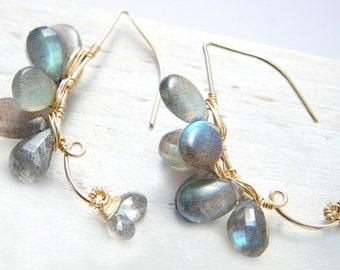 Flashy Labradorite Earrings, Grey Gray Gemstone Earrings, Gold Filled Hoop