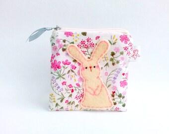 Rabbit Zipper Pouch, Bunny Coin Purse, Rabbit Wallet, Rabbit Pouch, Bunny Pouch, Fabric Pouch Rabbit, Bunny Lover Gift - Rabbit Lover Gift