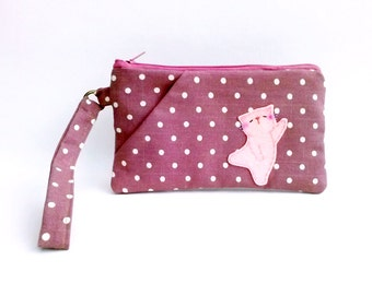 Wristlet Wallet, Cell Phone Wallet, Wrist Strap, Wristlet Bag, Clutch Purse, iPhone Wristlet, Wristlet Pouch, Cat Wristlet, Violet Red