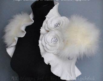 Wedding Bolero, Shrug, Jacket Felted, 30% OFF, Marabou Bridal Felted, Cap Sleeves /The Swan Princess/ Roses, Pearls Brooch