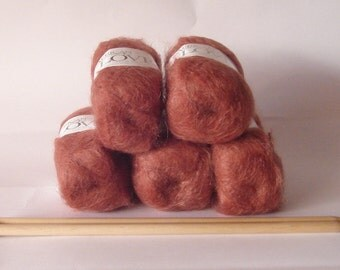 Yarn mohair chunky weight mohair wool blend 50g skein rust brown knitting crochet wool from South Africa