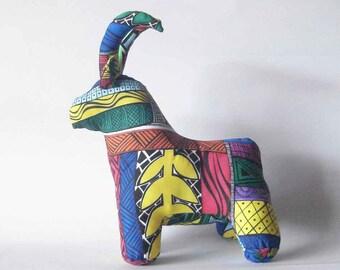 Sable Antelope stuffed African animal wildlife plush toy handmade silk screened hand painted