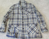 vintage wool plaid shirt jacket ladies XL-2XL sturdy handmade blue grey extra long