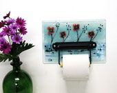 Toilet Paper Holder , Red Poppy Field, Fused Glass Wall Art,  Bathroom Decor