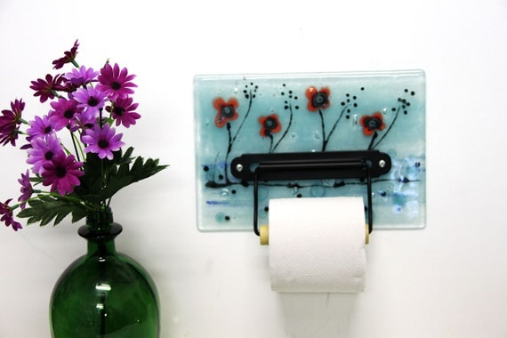 Toilet paper holder red poppy field fused glass wall art for Red glass bathroom accessories