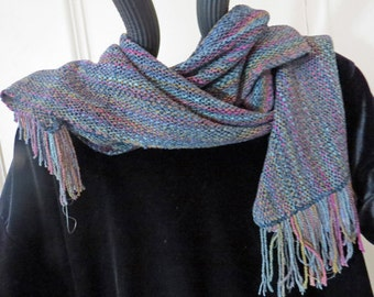 SCARF Handwoven, Hand Dyed, Chenille, Subtle Jewel Colors, Grey, Long and Flowing