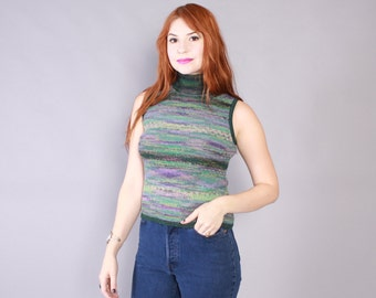 Vintage 80s KNIT TOP / 1980s MISSONI Green Stripe Sweater Knit Sleeveless Turtleneck Tank S