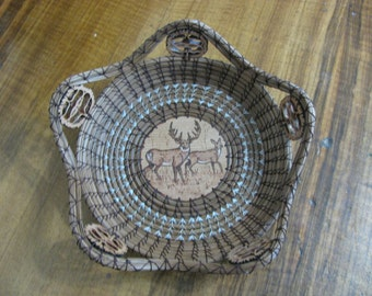Wood Burnt Image of Buck and Doe Deer Pine Needle Basket