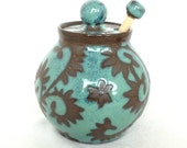 Turquoise Vines Honey Pot with a Natural Wood Honey Stick