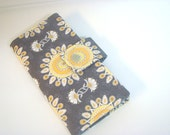 Fabric Checkbook Cover, Holder -  Gray with Yellow Circle Sprays