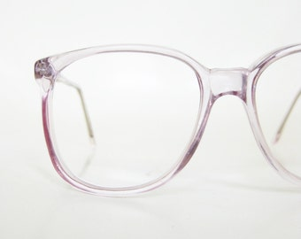 Vintage Clear Purple 1980s Eyeglasses Womens Ladies Round P3 Nerdy Indie Hipster Chic Pastel Lavender Light Transparent 80s Nerdy Geek