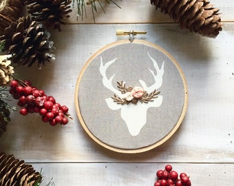 Grey and White Deer Embroidery Ornament. Stag Ornament. Holiday Ornaments. Embroidery Ornament. Deer Ornament, First Christmas Ornament