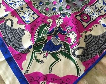 Stunning 60s ALADDIN Scarf Silk Pictoral Arabian Nights Magenta Gray Blue Illustrated Mid Century