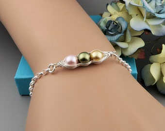 Peas in a Pod Bracelet, Sterling Silver Pearl Peapod Bracelet, 2, 3 or 4 peas, family necklace, mothers, mom jewelry, best friends,