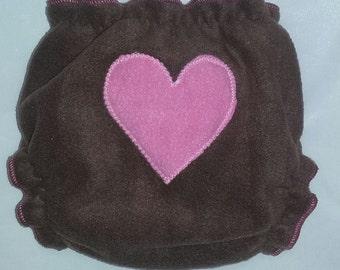 Brown heart butt fleece diaper wrap
