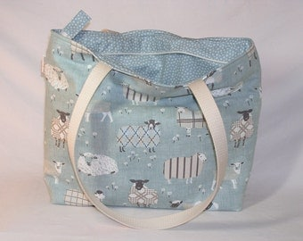 Sheep Sweaters in Duck Egg Zippered Tory Tote - Premium Fabric