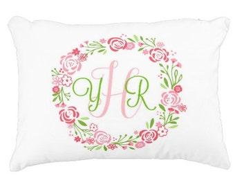 Custom Monogram Pillow Case - 9 colors,  Preppy Monogram Pillow Gift, Nursery Accent Pillow, Dorm Decor, Shabby Chic Floral Wreath