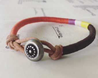 READY TO SHIP - Cooper bracelet - leather wrap, button closure, handmade jewelry