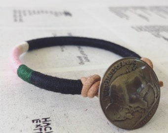READY TO SHIP - Cooper bracelet - leather wrap, authentic buffalo nickel button closure, handmade jewelry