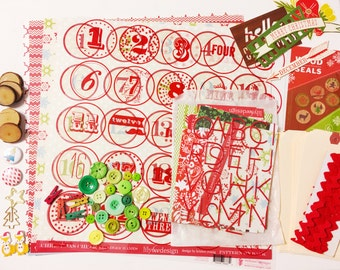Scandinavian Christmas Advent Tag Banner Kit