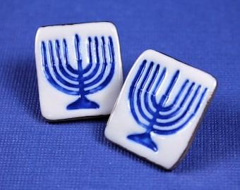 Hanukkah Menorah Earrings Handmade Ceramic Porcelain Jewelry