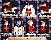 "fabric 2 yards x 45"" CHRISTMAS debbie MUMM penguins polar bears santa cotton quilt quilting holiday new"