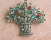 Pot Metal Flower Basket Brooch Multi Colors