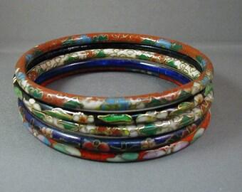 Set of Five Cloisonne Bangle Bracelets
