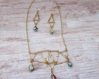 Gold Geometric Beaded Necklace Set, Geometric Jewelry, Gold Necklace, Crystal Necklace, Geometric Necklace, Geometry, Urban Jewelry, Gold