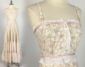 Vintage 70s Jessica McClintock Gunne Sax Dress maxi floral print prairie hippie boho festival flowers cotton XS 1970s