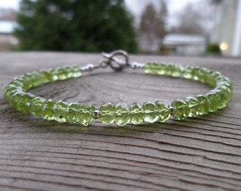 Natural Faceted Peridot Gemstone and Birthstone Sterling Silver Bracelet