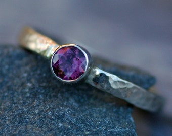Ready to Ship:  Recycled 14k White Gold Ring with Rhodolite Garnet size 5.5