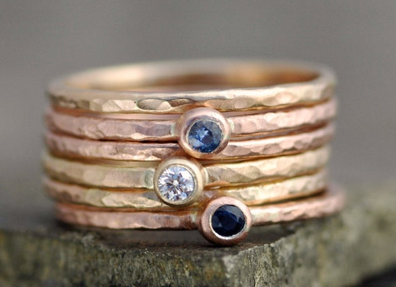 White Diamond and Sapphires on Thin Solid Recycled 14k Gold Stacking Engagement Rings-  Made to Order