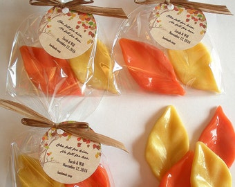 Elm Tree Fall Autumn Harvest Anniversary Bridal Baby Couples Shower Leaf Favors Handmade Soap (20 complete favors with tags-40 soaps)